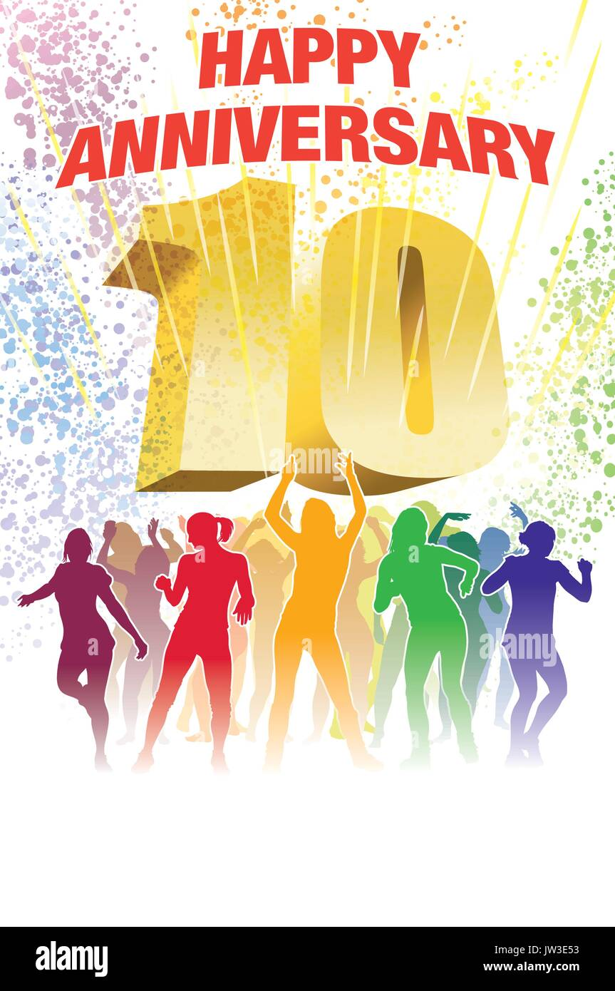 Colorful crowd of dancing people celebrating tenth anniversary - Stock Vector