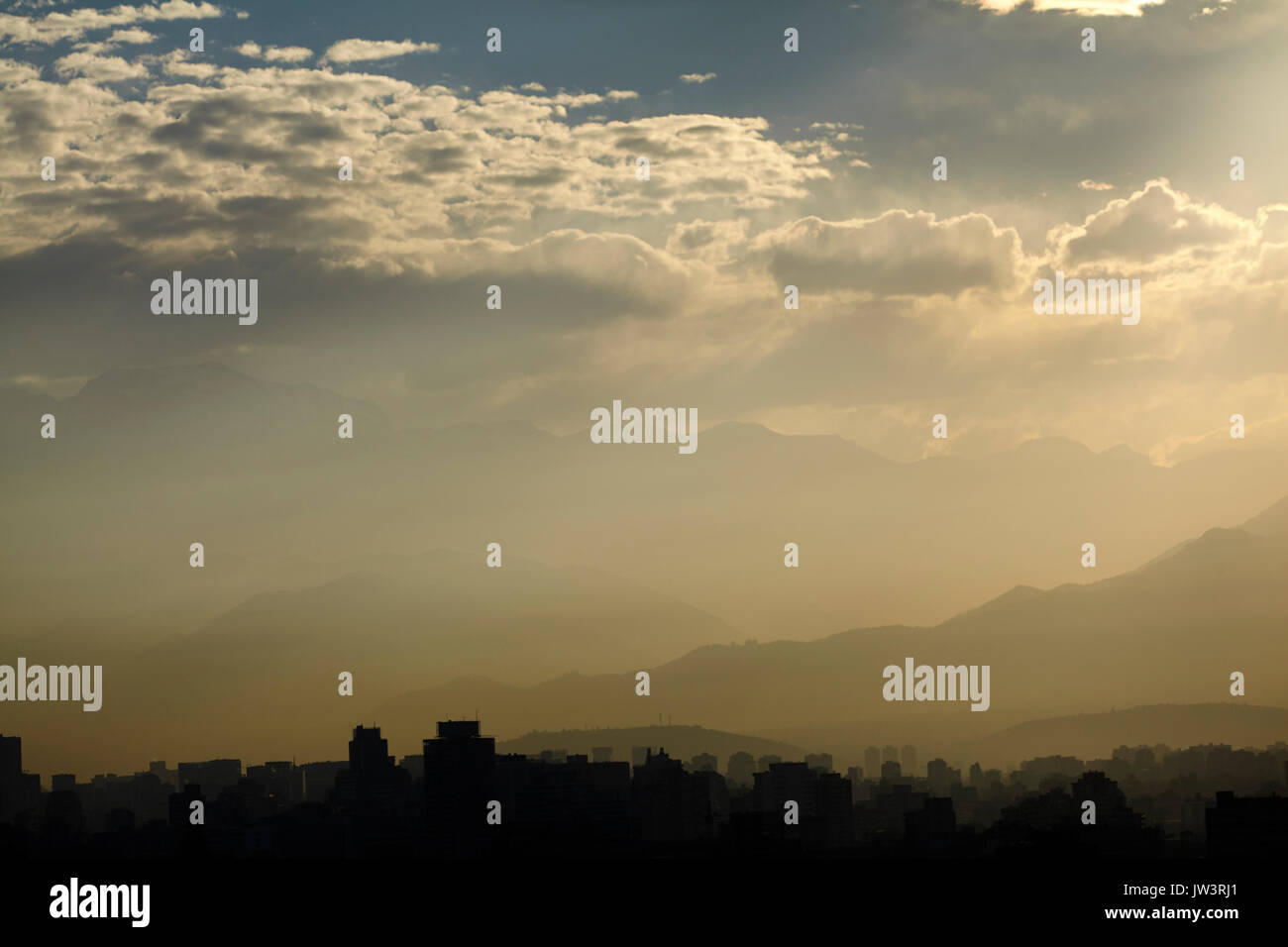 Santiago and the Andes Mountains, Chile, South America - Stock Image