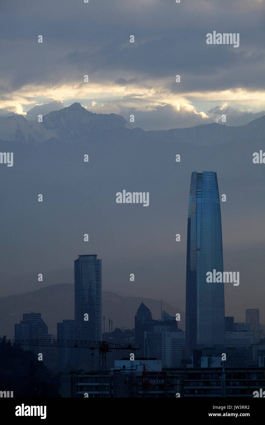Sky Costanera skyscraper, Santiago and the Andes Mountains, Chile, South America - Stock Image