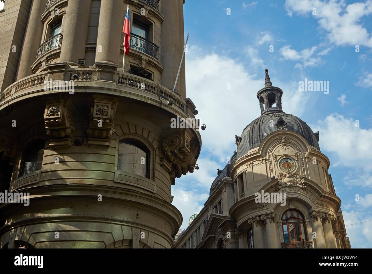 Ornate historic buidlings along La Bolsa, Santiago, Chile, South America - Stock Image