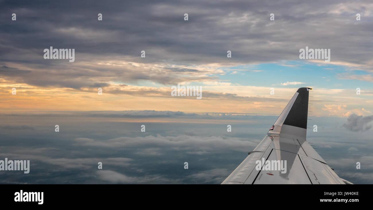 Sunrise outside of AIrplane - Stock Image