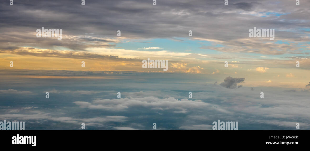 Panoramic View of Sunrise at High Altitude - Stock Image
