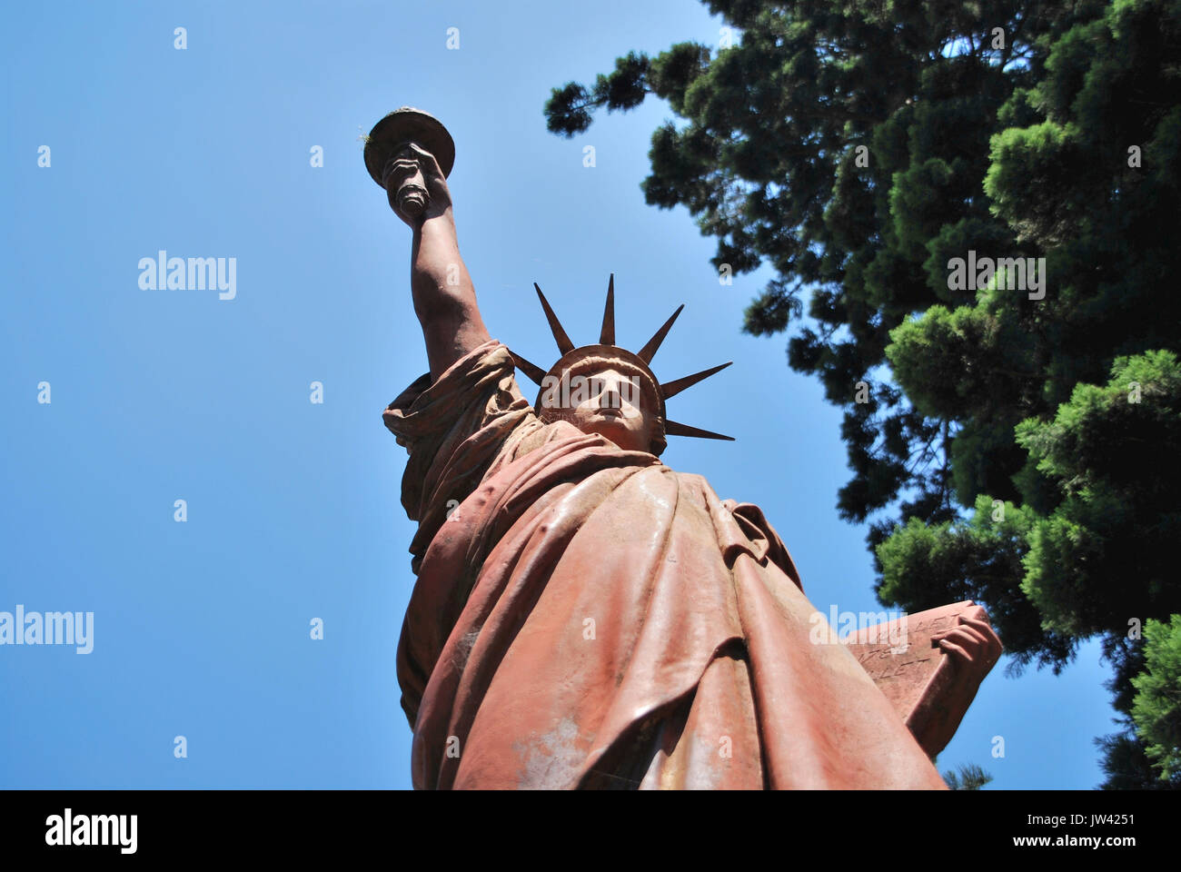 march 2, 2015 - Buenos Aires/Argentina: copy of statue of liberty in plaza Barrancas de Belgrano public park - Stock Image