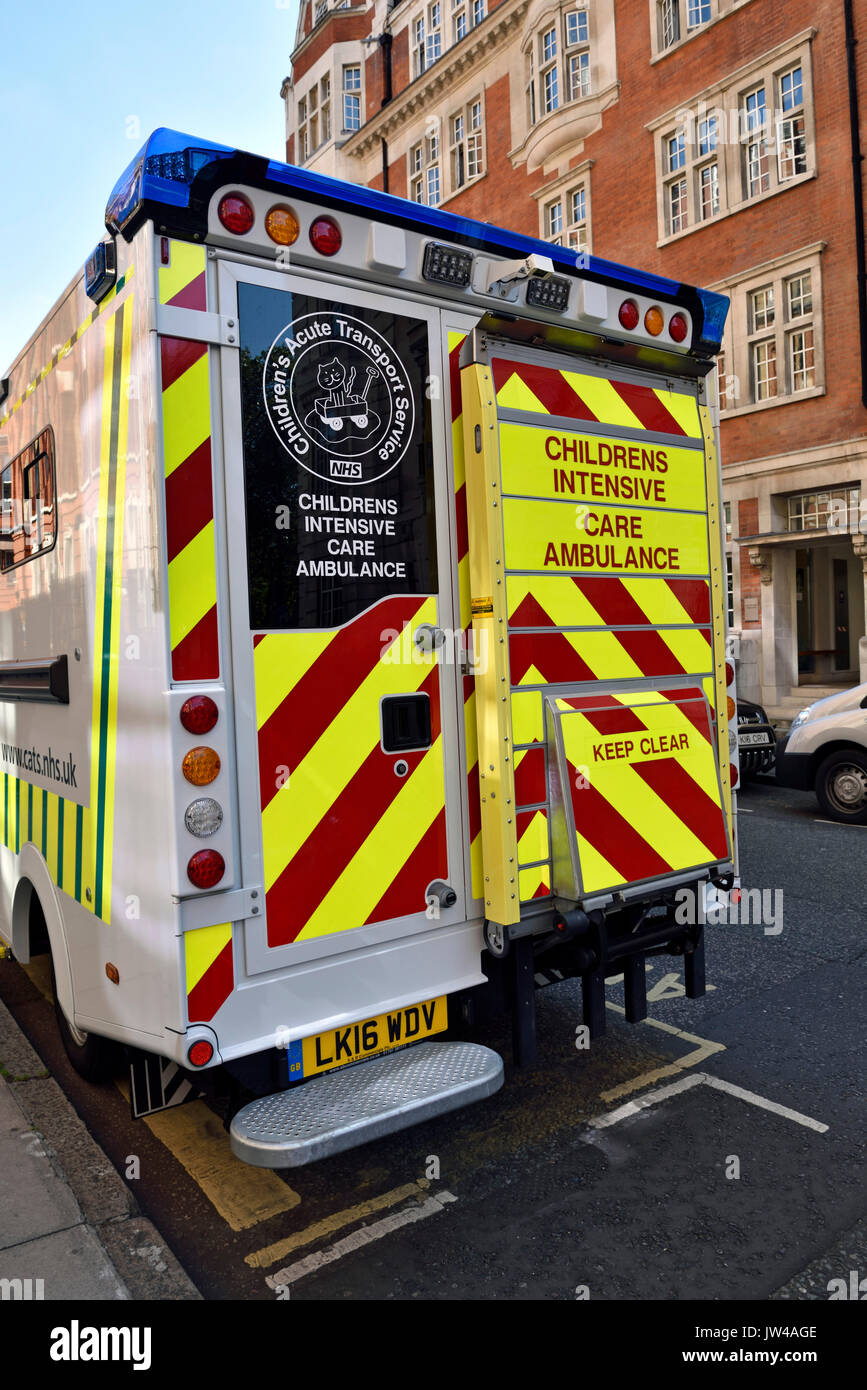 Children's Acute Transport Service, CATS, Intensive Care Ambulance seen from the rear - Stock Image