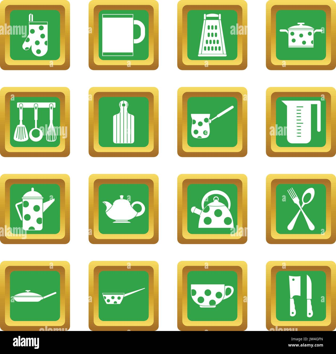 Kitchen tools and utensils icons set green - Stock Vector