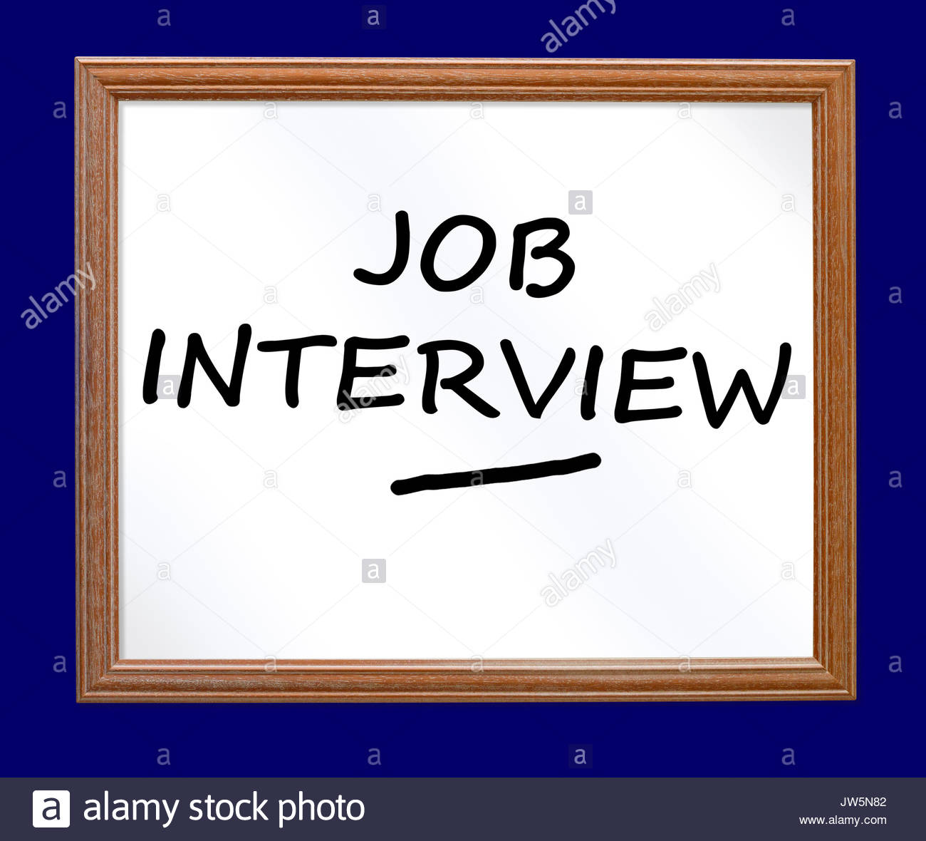 Job Interview written on a whiteboard, Blandford, Dorset, England, UK - Stock Image