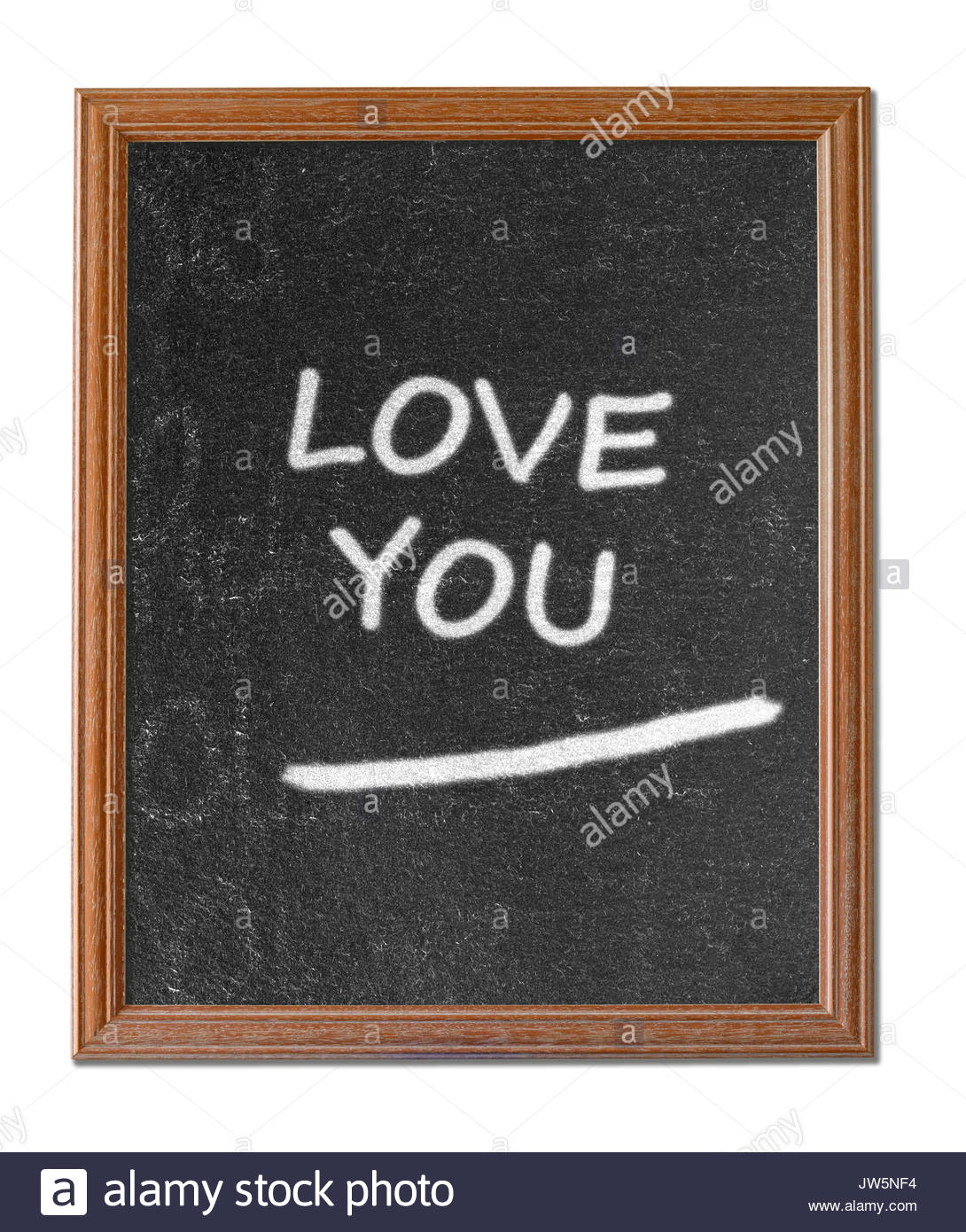 Love you written on a blackboard, Blandford, Dorset, England, UK - Stock Image