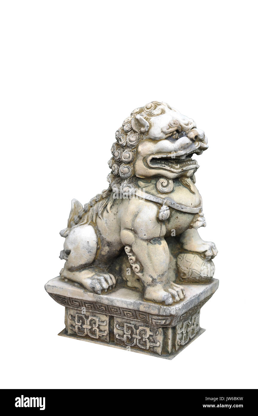 male chinese lion statue tread on ball. but female chinese lion statue tread on child. - Stock Image