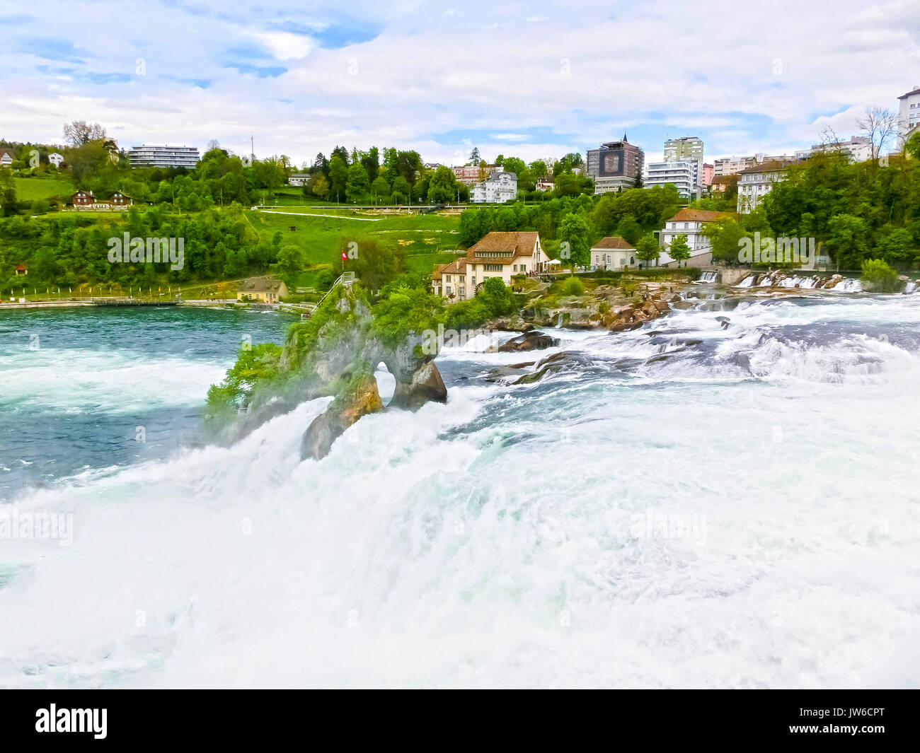 Largest waterfall in Europe by River Rhein in Switzerland Stock Photo