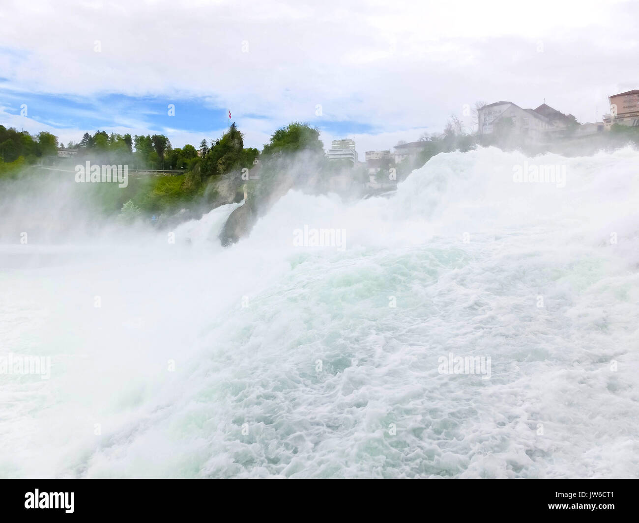 Largest waterfall in Europe by River Rhein in Switzerland - Stock Image