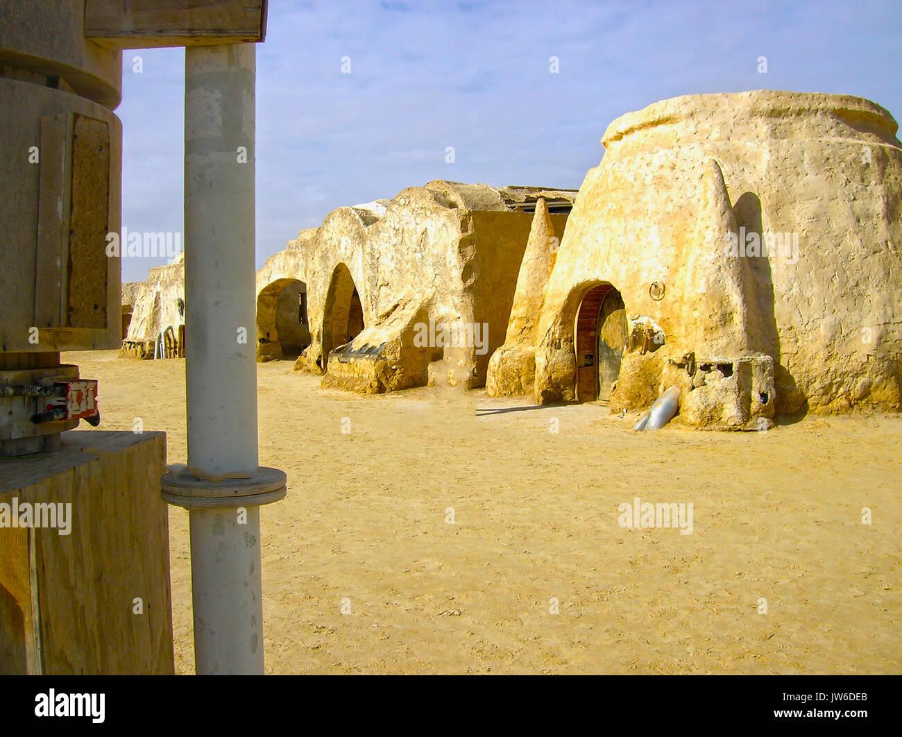 Sahara, Tunisia - January 03, 2008: Abandoned sets for the shooting of the movie Star Wars Stock Photo