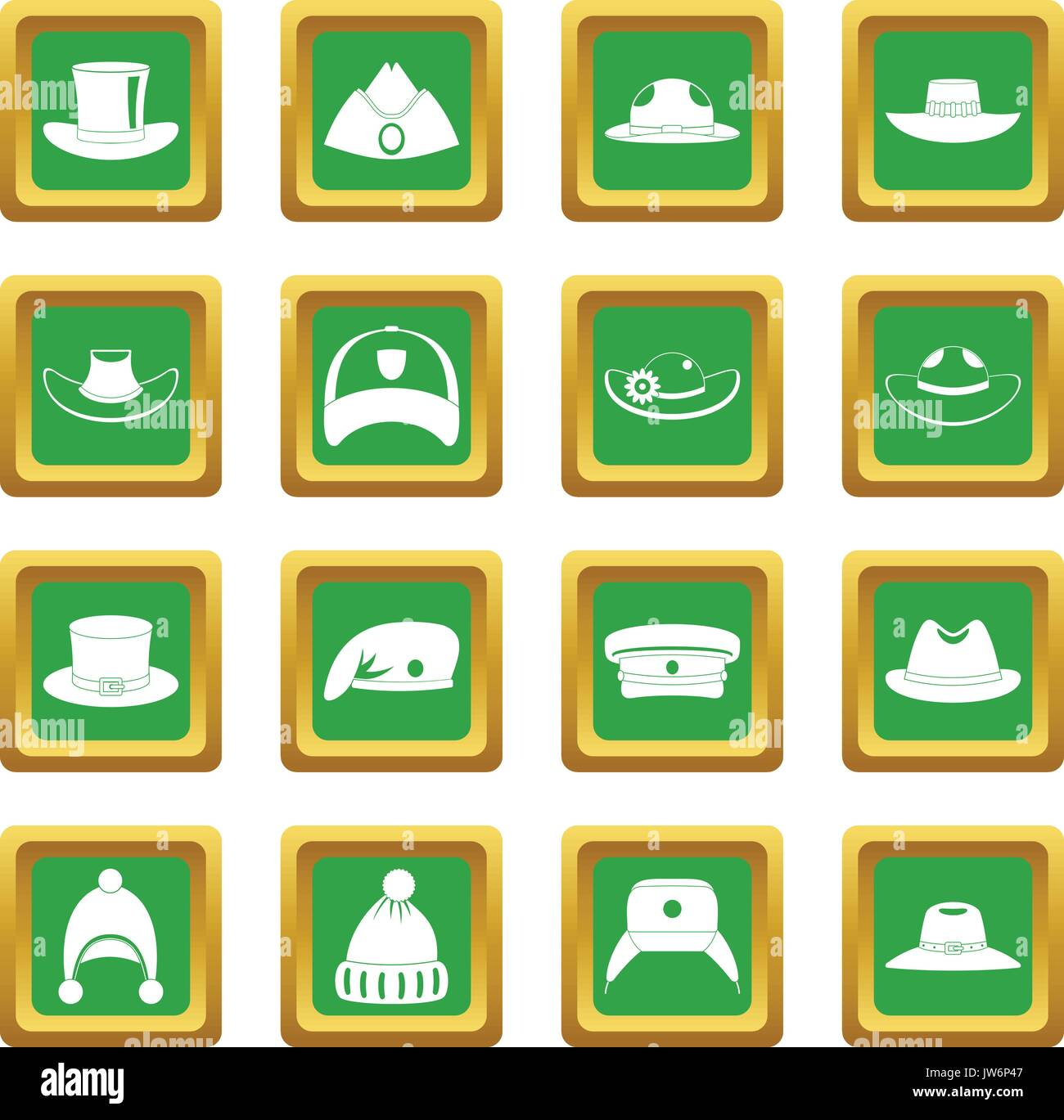Headdress hat icons set green - Stock Image