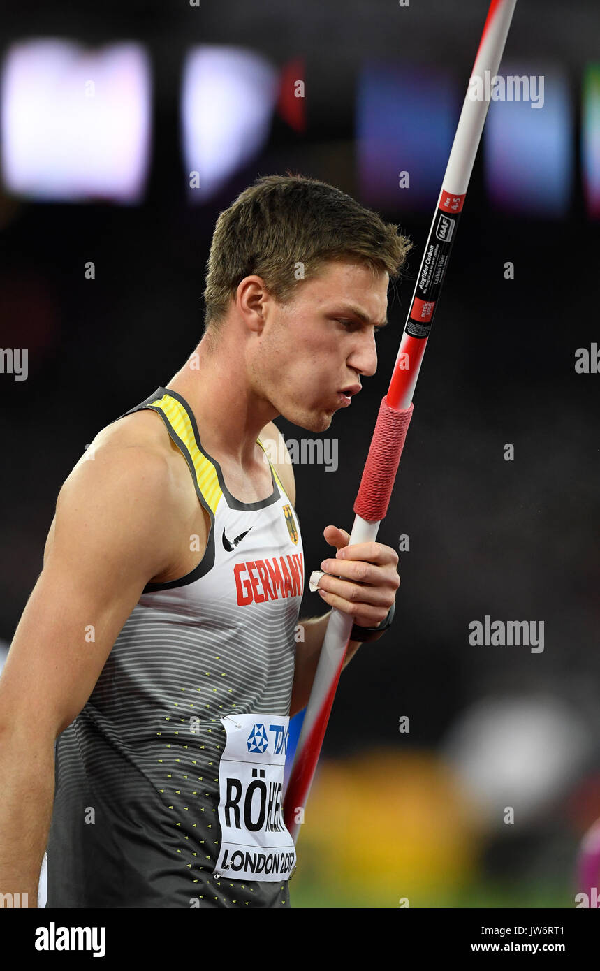 London, UK. 10th Aug, 2017. Thomas Rohler from Germany reacts during the men's javelin throw qualifier at the IAAF Stock Photo