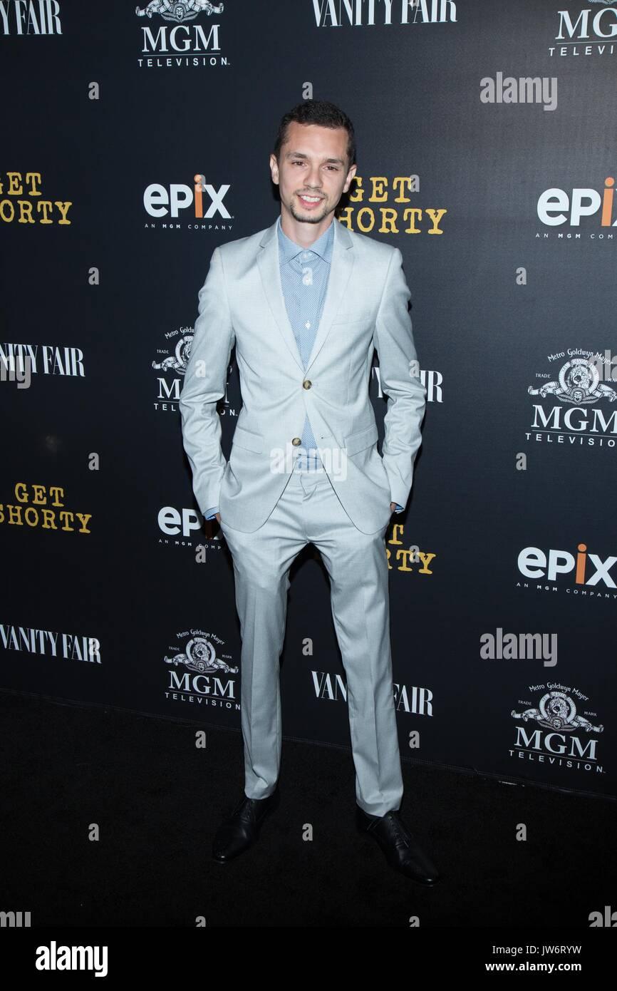 West Hollywood,USA. 10th Aug,2017. Sasha Feldman attends red carpet premiere EPIX original series 'Get Shorty' Pacific Stock Photo