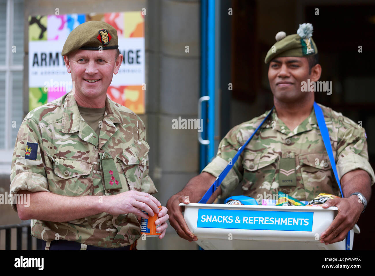 Edinburgh, Scotland 11th August. Head of the Army in Scotland Welcomes Performances for New Fringe Venue. (Venue 210) Brigadier Gary Deakin Welcomed performers to the history Hepburn House for the opening of the Army's first ever Edinburgh Festival Fringe Venue. Edinburgh. Pictured Brigadier Gary Deakin. Pako Mera/Alamy Live News - Stock Image