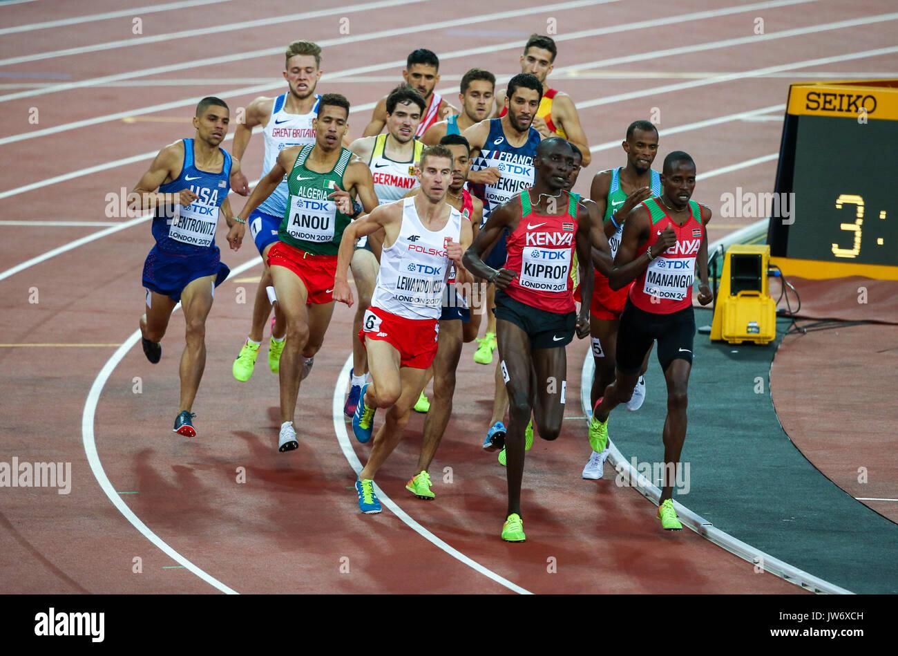 London, UK. 10th Aug, 2017. London, August 10 2017 . Men's 1500m heats on day seven of the IAAF London 2017 world Stock Photo