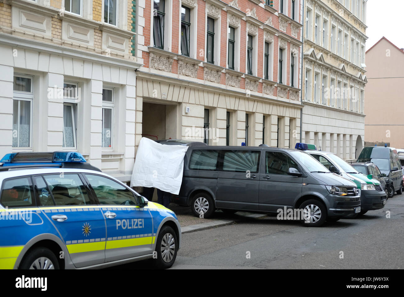 Leipzig, Germany  11th Aug, 2017  Police officers covering