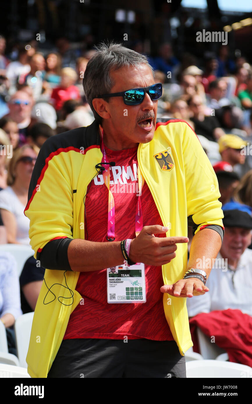 London, UK. 11th August, 2017. Germany Coach Hans-Jörg Thomaskamp giving instructions at the High Jump qualification at the 2017 IAAF World Championships, Queen Elizabeth Olympic Park, Stratford, London, UK. Credit: Simon Balson/Alamy Live News - Stock Image