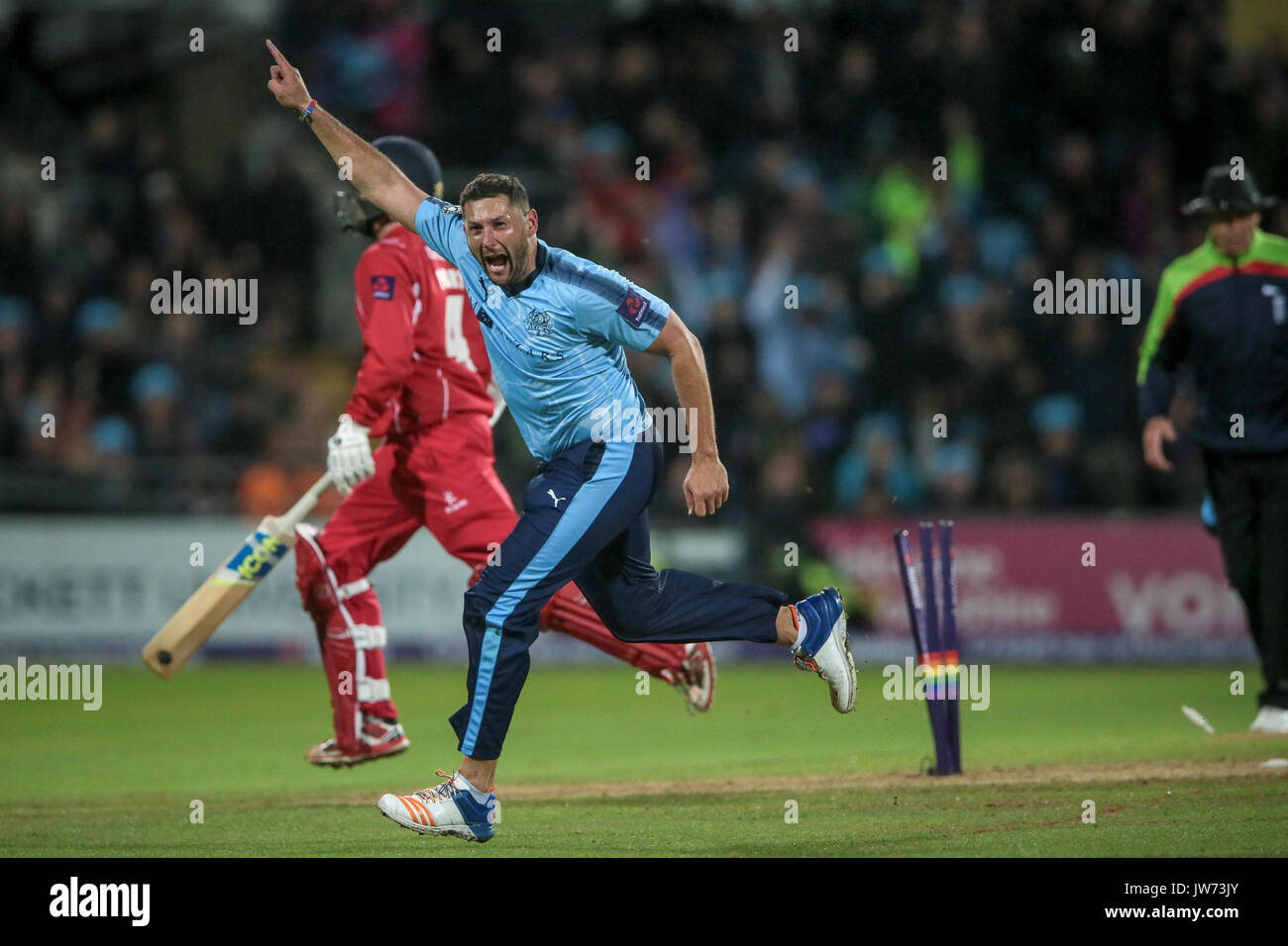 Leeds, UK. 11th Aug, 2017. Tim Bresnan (Yorkshire Vikings) celebrates running out Stephen Parry (Lancashire Lightning) and helping Yorkshire Vikings to an emphatic win in the Natwest T20 Blast game.  Yorkshire Vikings v Lancashire Lightning on Friday 11 August 2017. Photo by Mark P Doherty. Credit: Caught Light Photography Limited/Alamy Live News - Stock Image
