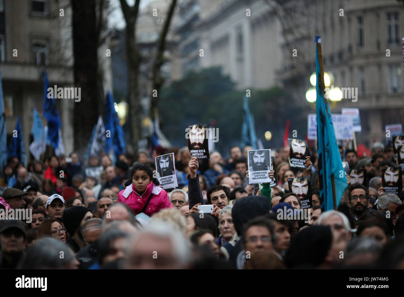 Thousands rally at the May Square in Buenos Aires, Argentina, 11 August 2017, to protest against the disappearance of young activist Santiago Maldonado during an indigenous community protest in South Argentina. EFE/David Fernandez - Stock Image