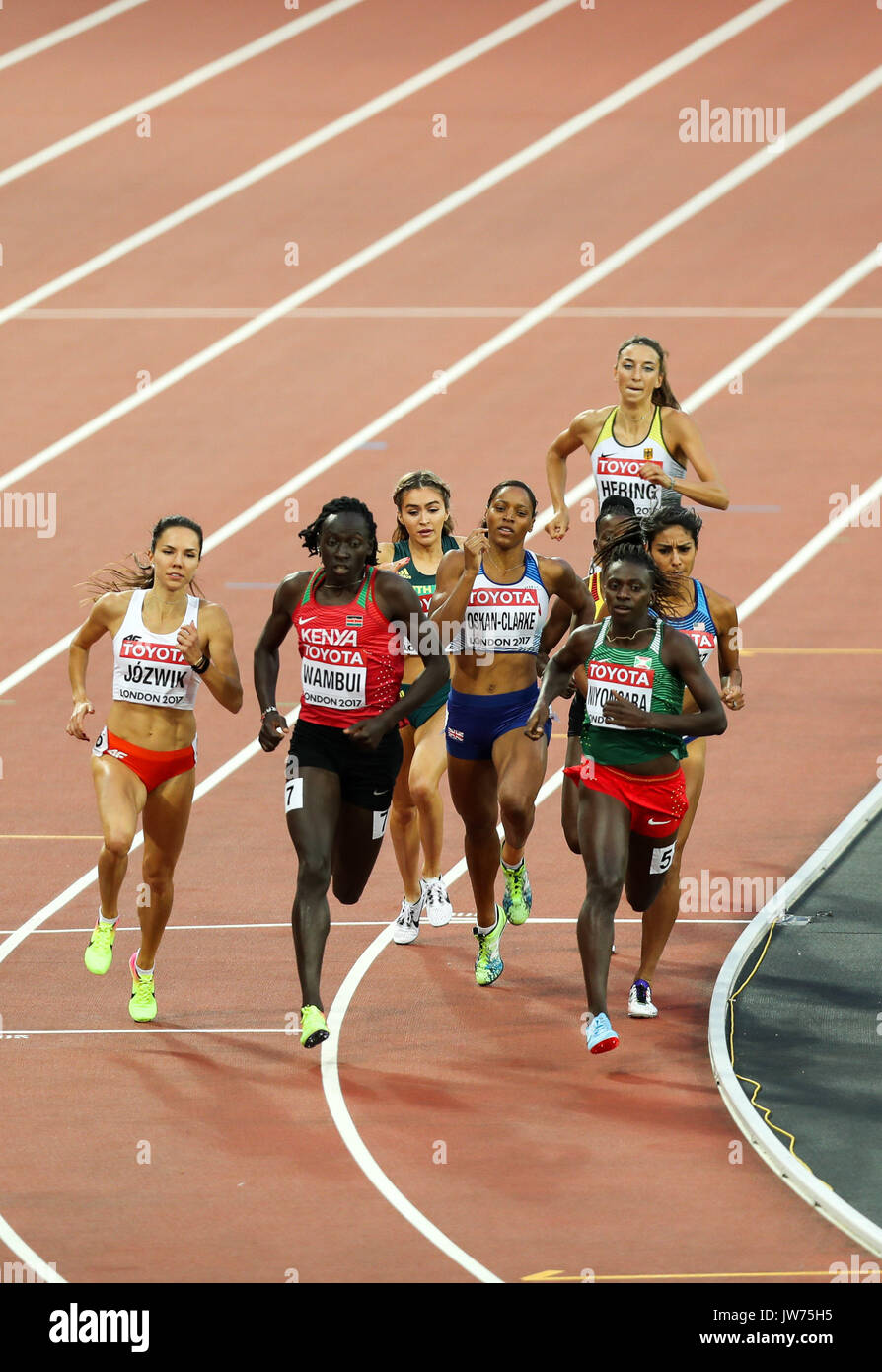 London, UK. 11th Aug, 2017. London, August 11 2017 . The pack heads down the back straight in the third women's 800m semi-final on day eight of the IAAF London 2017 world Championships at the London Stadium. Credit: Paul Davey/Alamy Live News - Stock Image