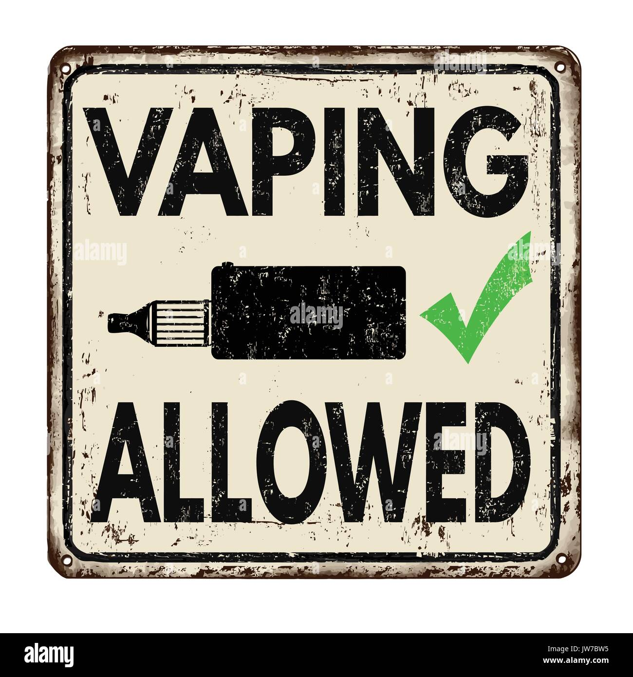 Vaping Allowed  vintage rusty metal sign on a white background, vector illustration - Stock Image