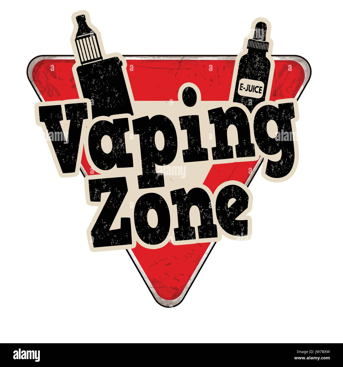 Vaping Zone vintage rusty metal sign on a white background, vector illustration - Stock Image