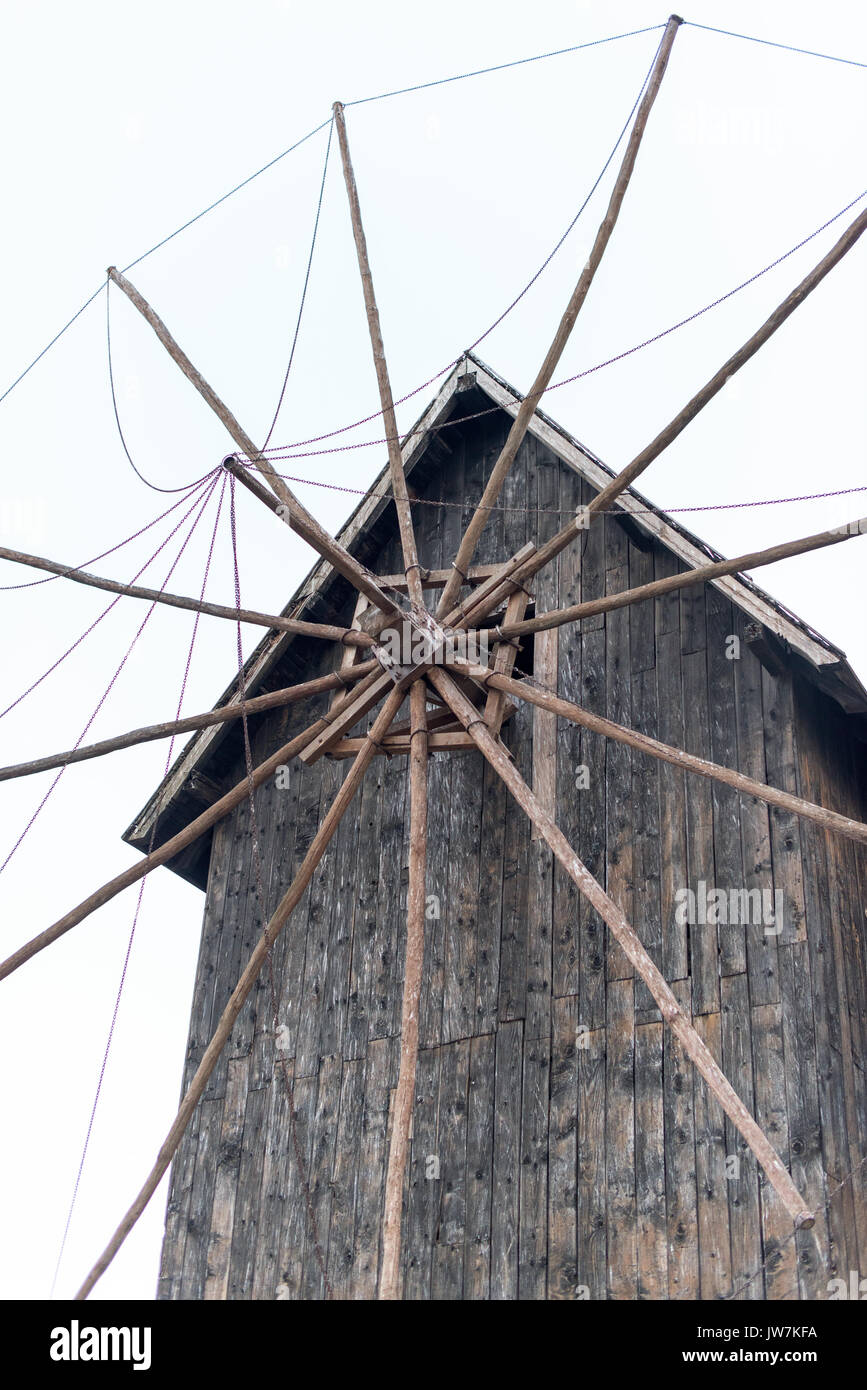 Part of an old wooden windmill, vintage - Stock Image