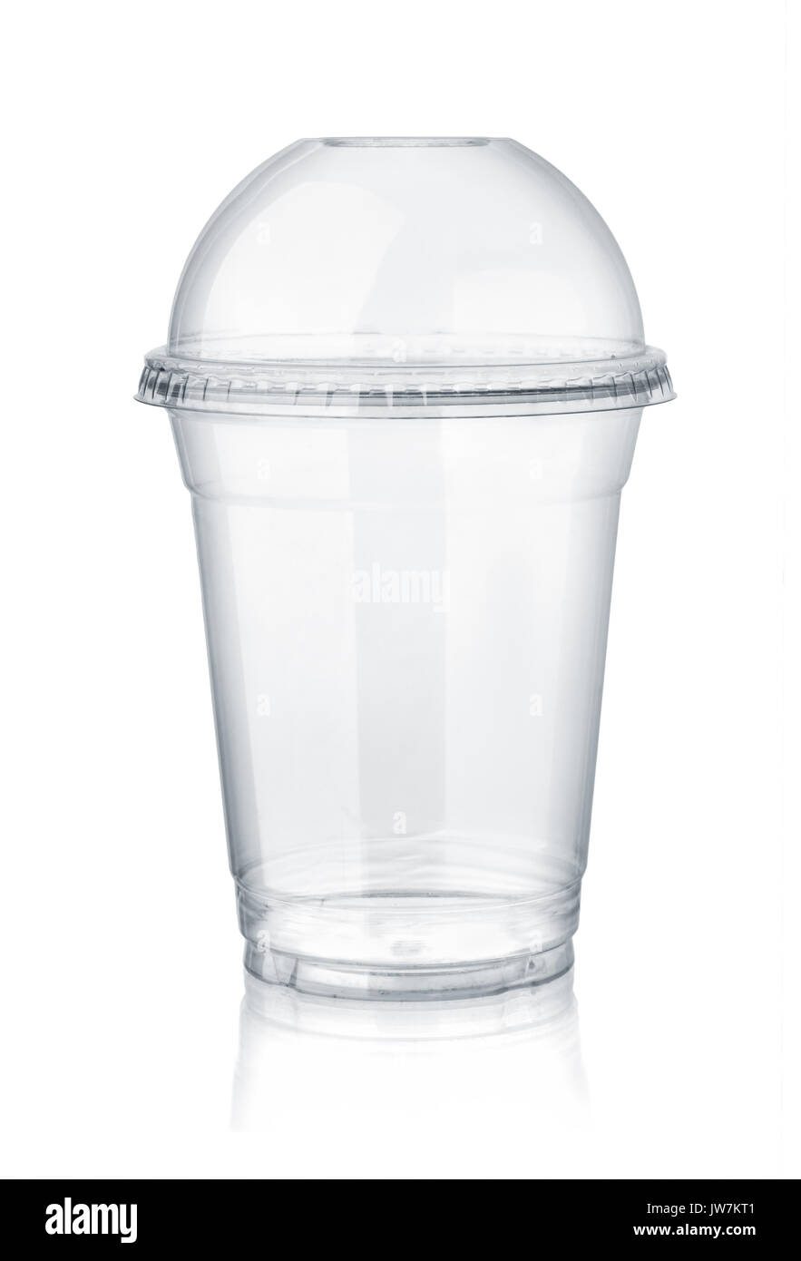 Plastic clear cup with dome lid isolated on white - Stock Image