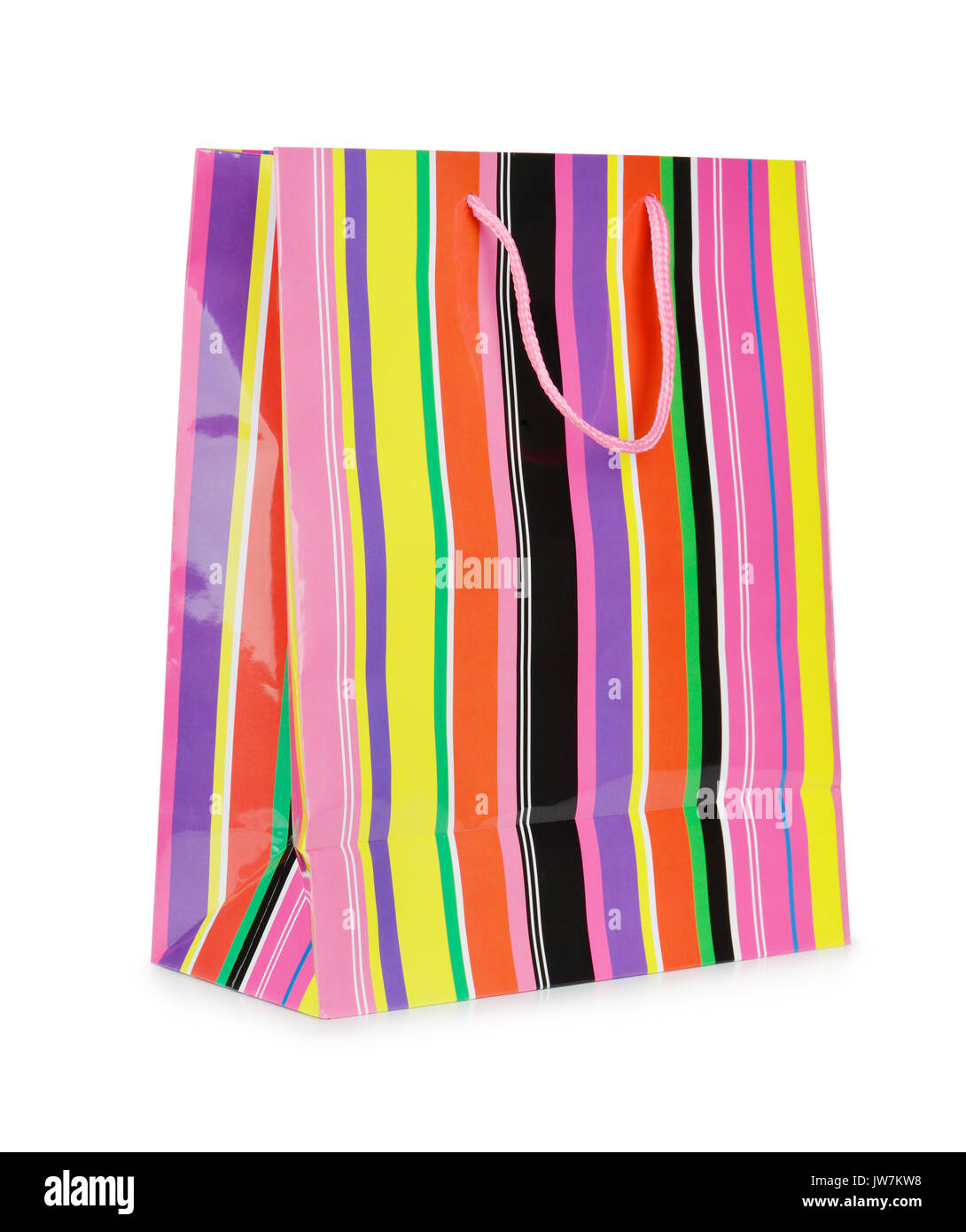 Single colorful striped paper shopping bag isolated on white - Stock Image