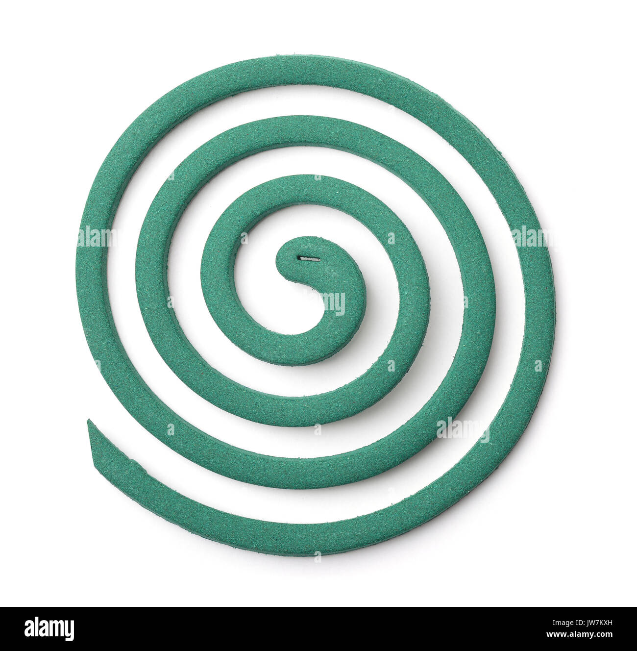 Top view of mosquito coil isolated on white - Stock Image