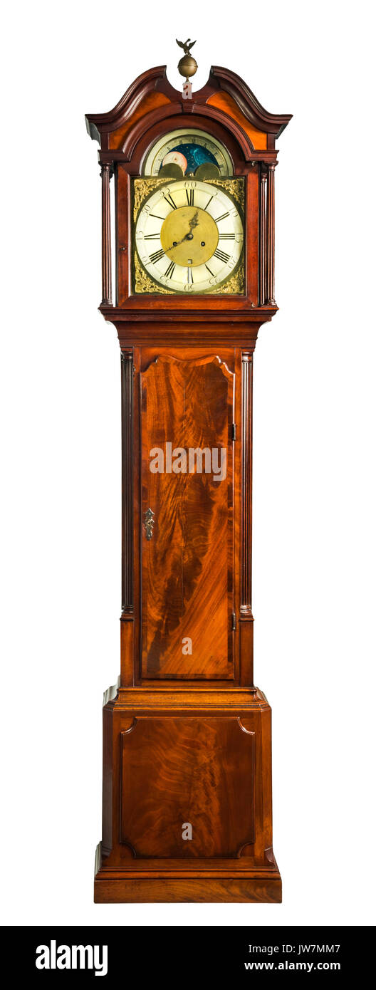 English antique tall long case clock known as grandfather  pendulum clock for halls large rooms and houses - Stock Image