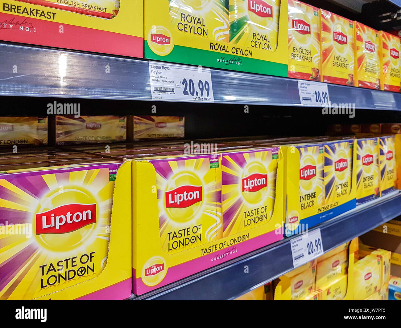Gorlice, Poland - July 18, 2017:  Various type of Lipton Tea for sale in Kaufland Supermarket. Lipton is a famous brand of tea, owned by the company U - Stock Image