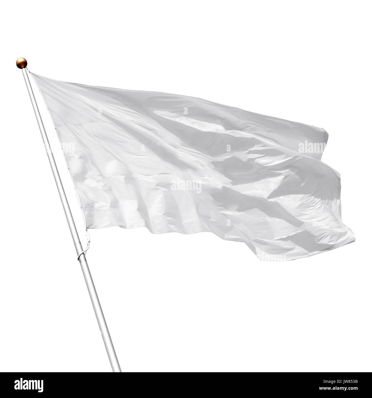 White flag waving in the wind on white background. Perfect mockup to add any logo, symbol or sign - Stock Image