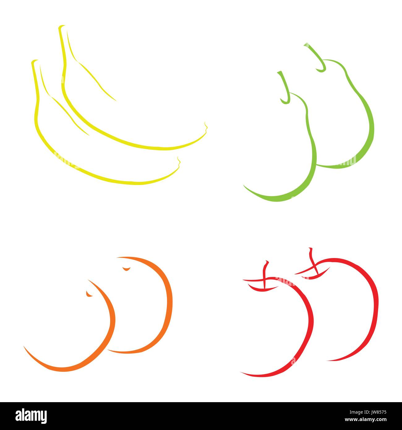 Abstract hand drawn fruits on white background - Stock Vector