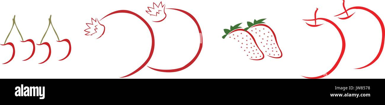 Hand drawn red fruits on white background - Stock Vector