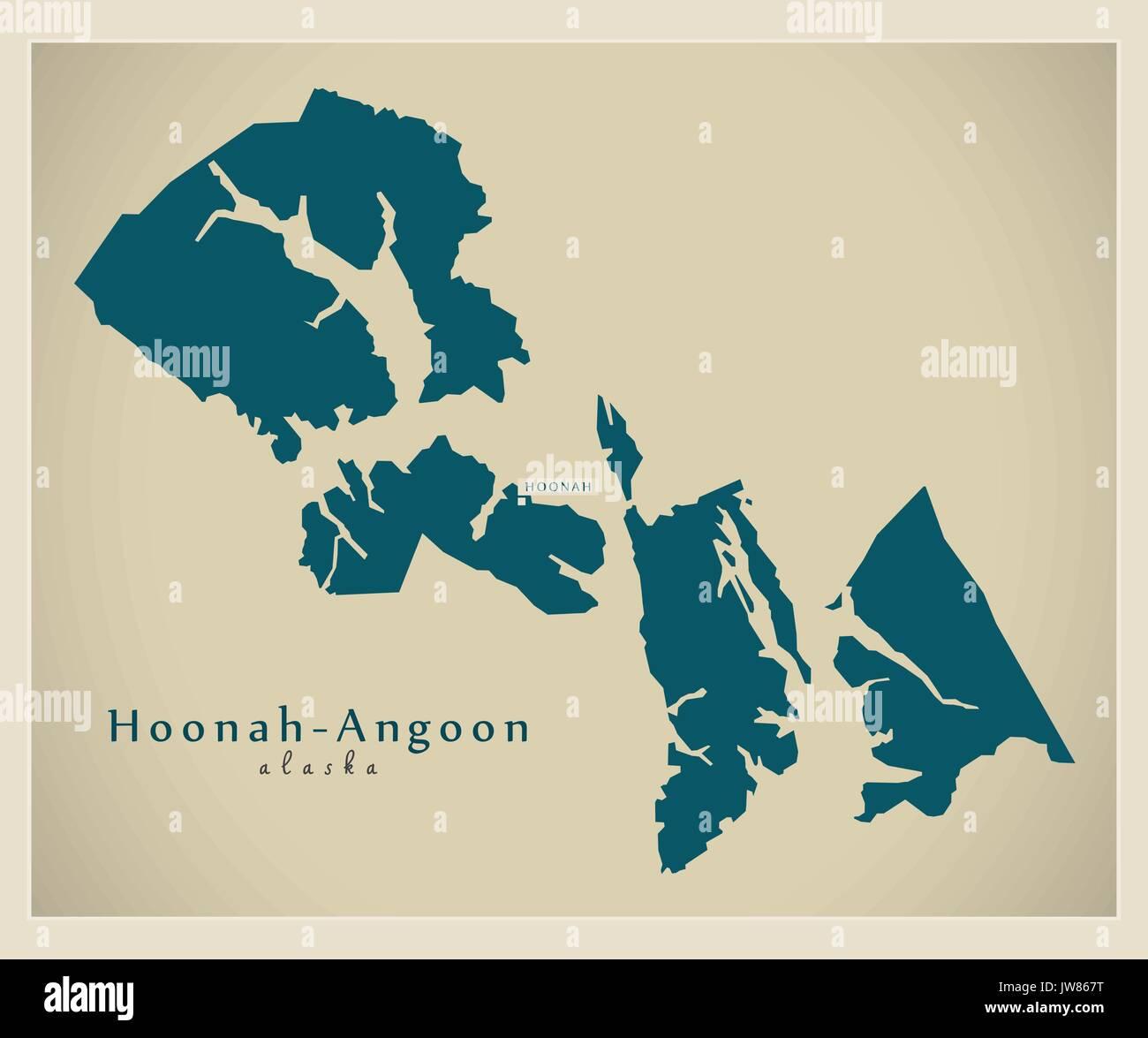 Modern Map Hoonah Angoon Alaska County Usa Illustration Stock