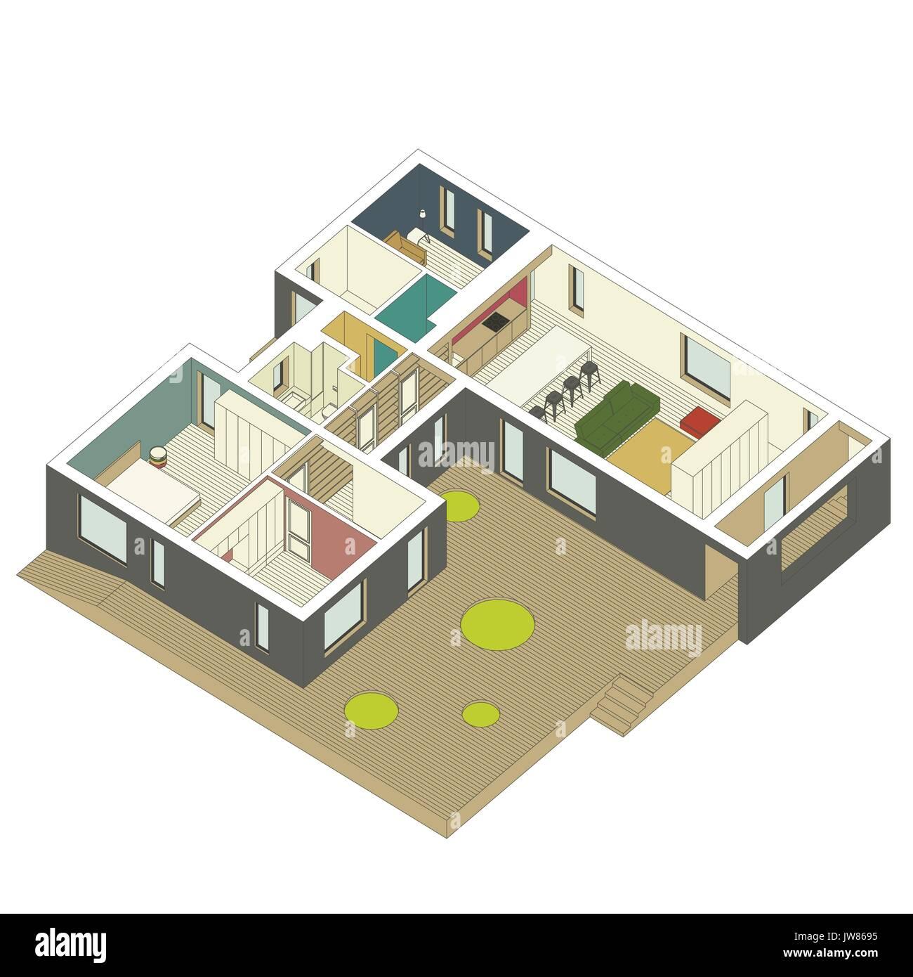 Isometric house inside - Stock Image
