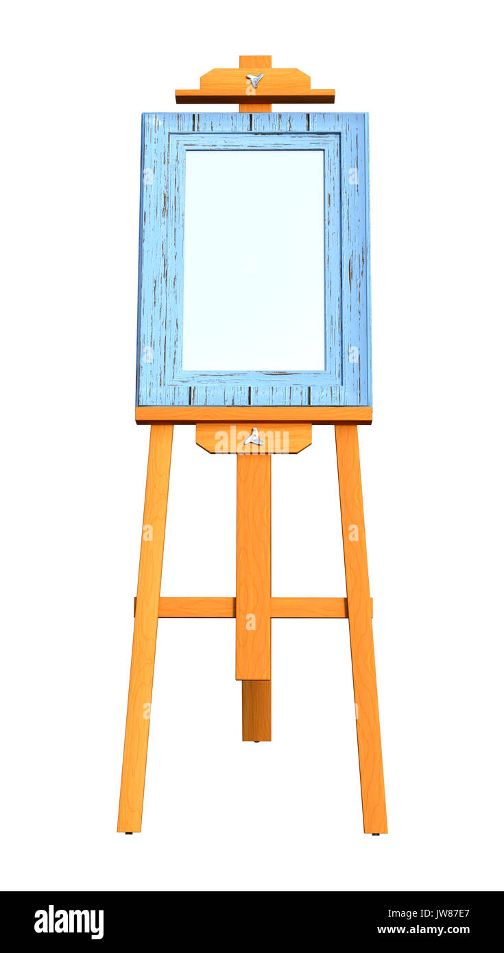 3D rendering of a blank art frame on a wooden easel isolated on ...