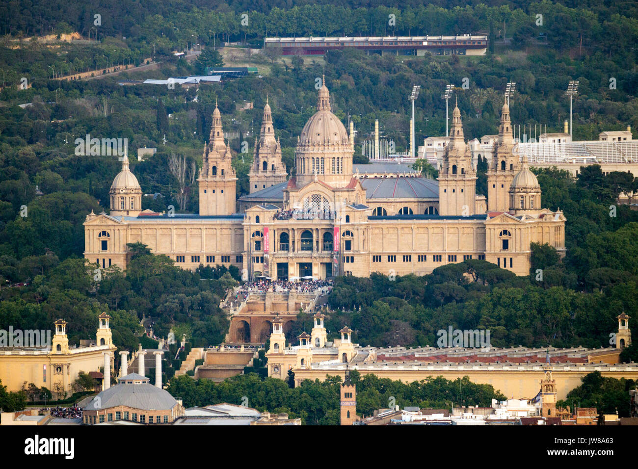 BARCELONA, SPAIN - MAY 21, 2016: Front view of the National Art Museum of Catalonia in Barcelona. - Stock Image