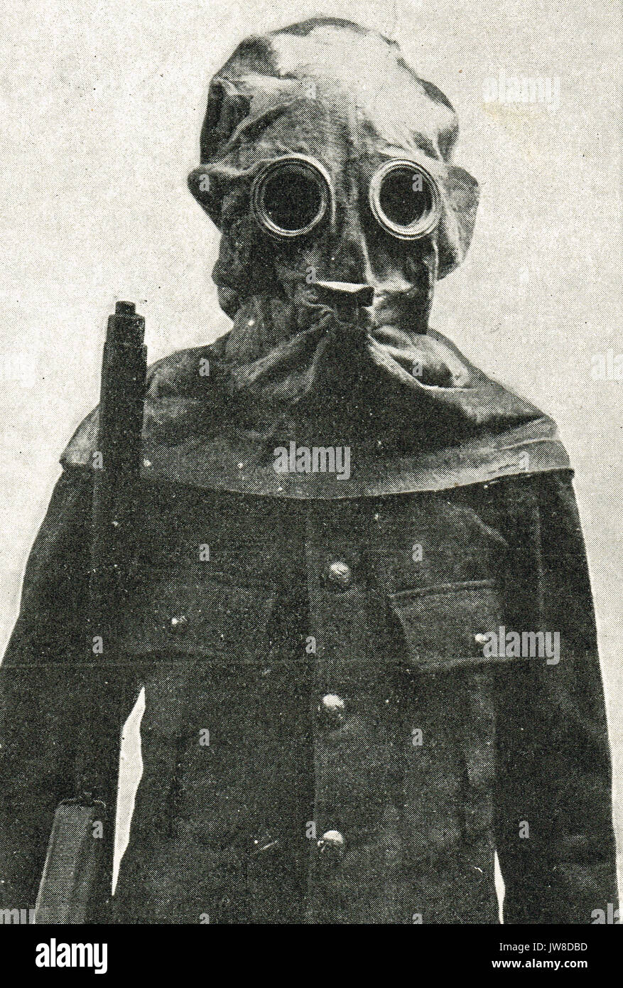 Trench helmet for poison gas protection, WW1 - Stock Image