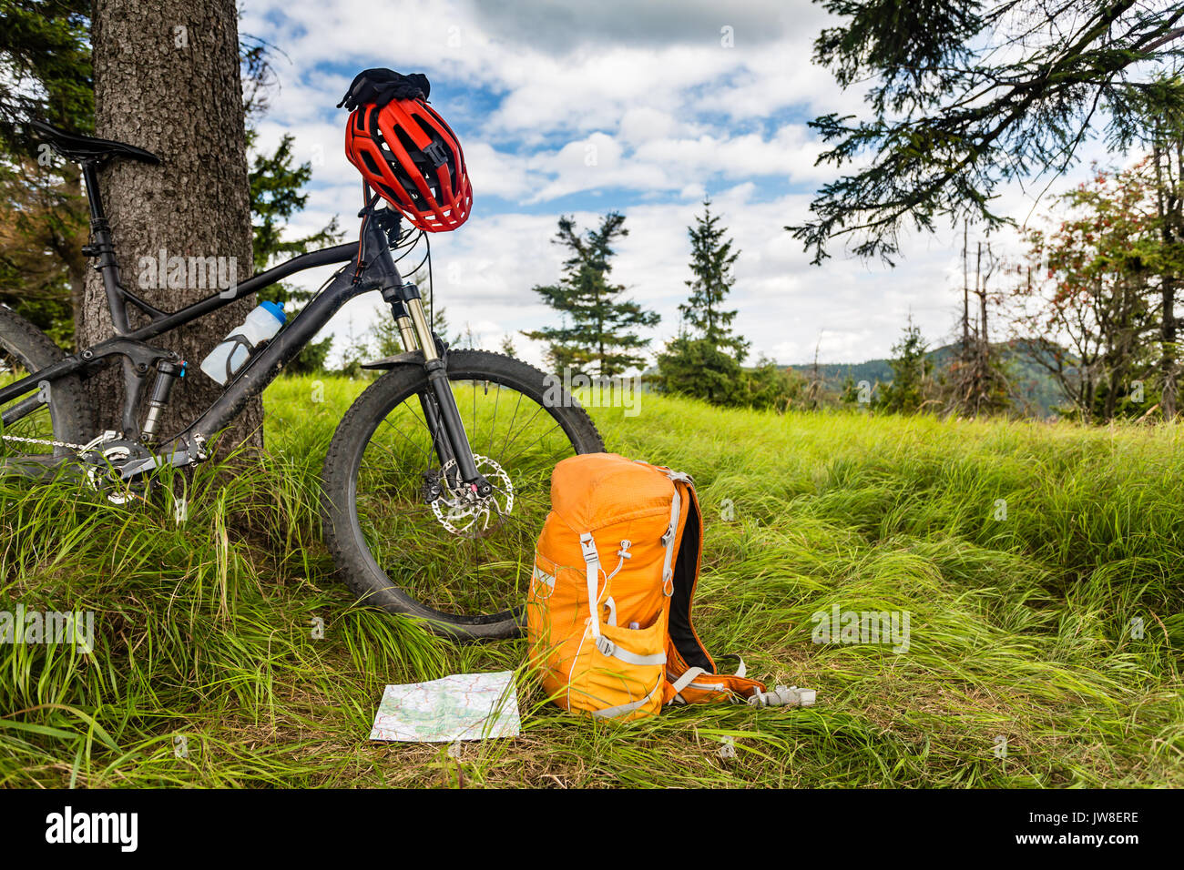 Mountain biking equipment in the woods, bikepacking adventure trip in green mountains. Travel campsite and MTB cycling with backpack, wilderness fores - Stock Image