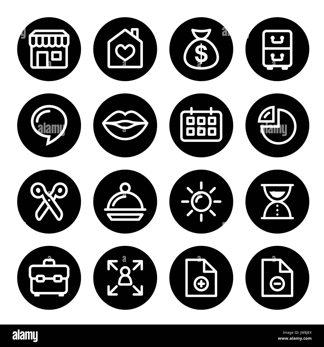 Website menu navigation round line icons - social media, blog, web page - Stock Image