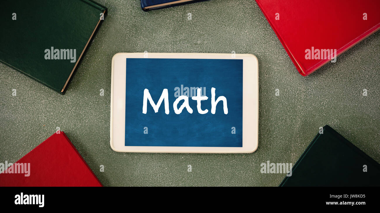 Math text on white background against oberhead view of
