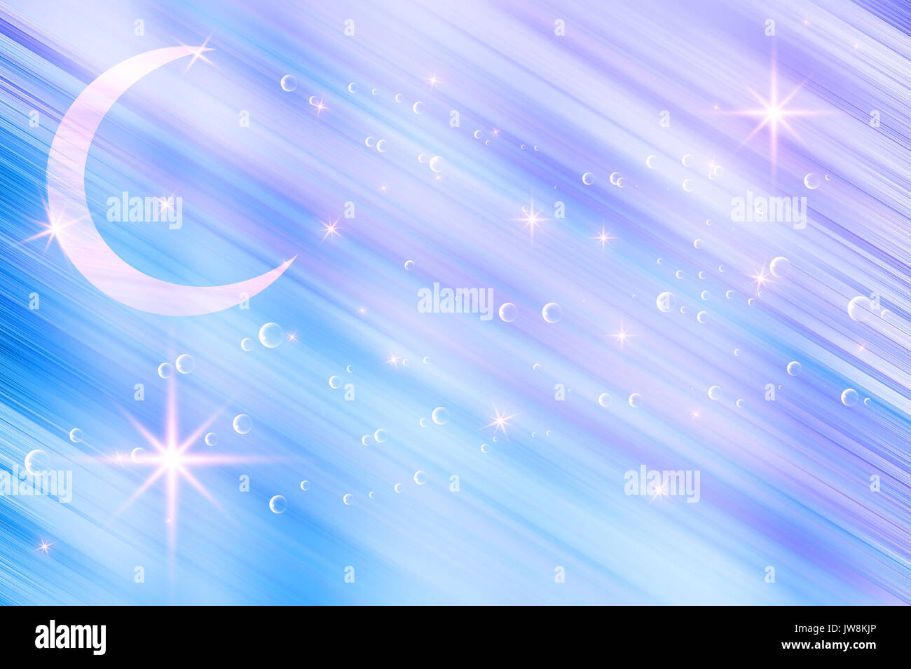 abstract blue background with crescent - Stock Image