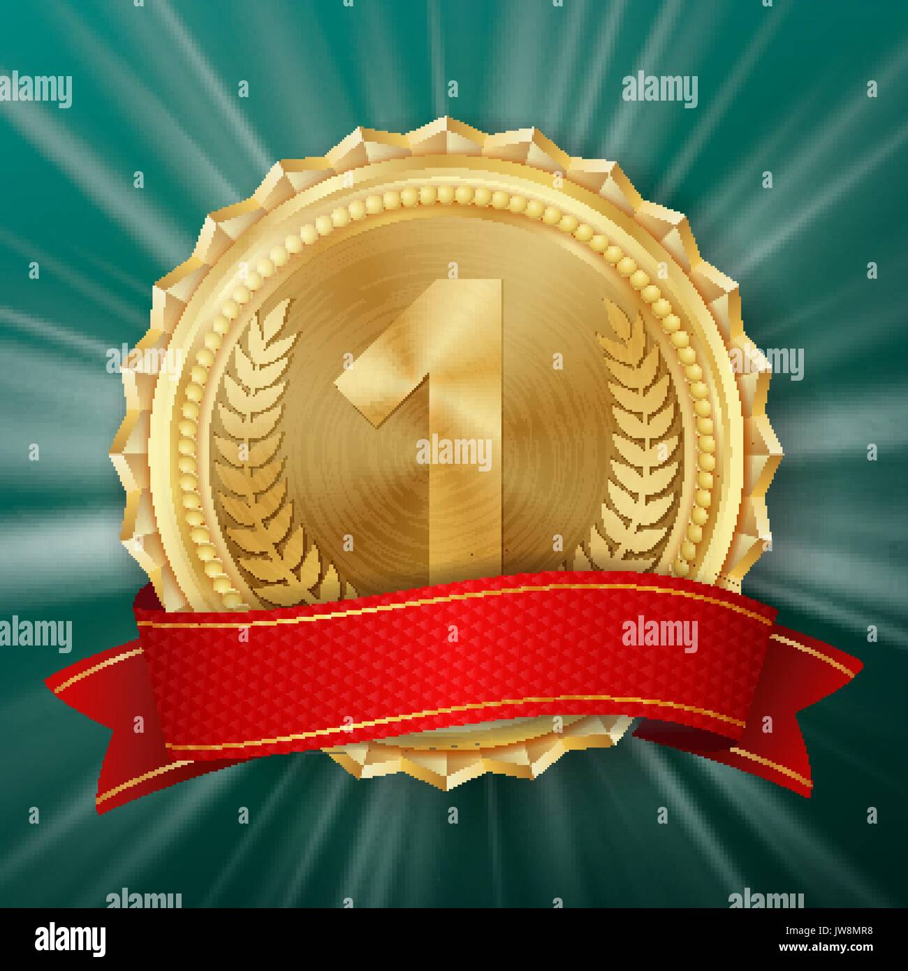 Gold Medal Vector. Golden 1st Place Badge. Metallic Winner Award. Red Ribbon. Olive Branch. Realistic illustration. - Stock Image