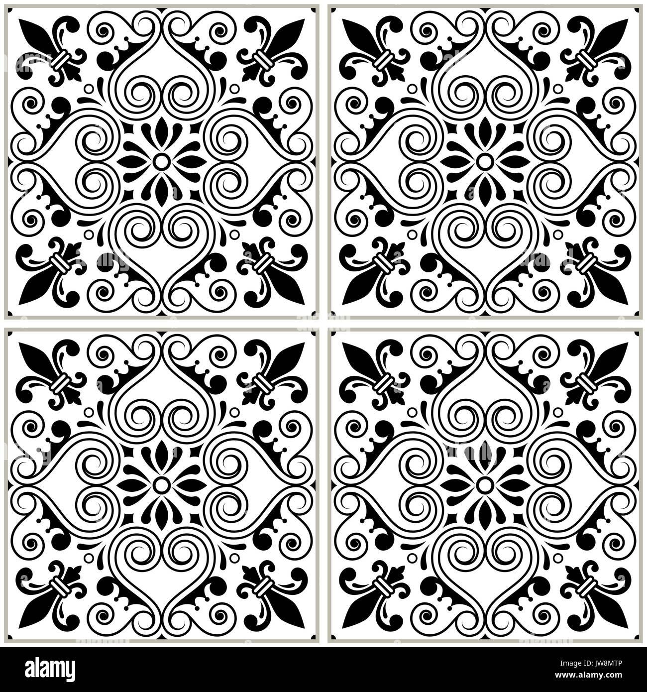 Portuguese tiles pattern - Azulejo black and white design, seamless vector blue background, vintage mosaics set - Stock Vector