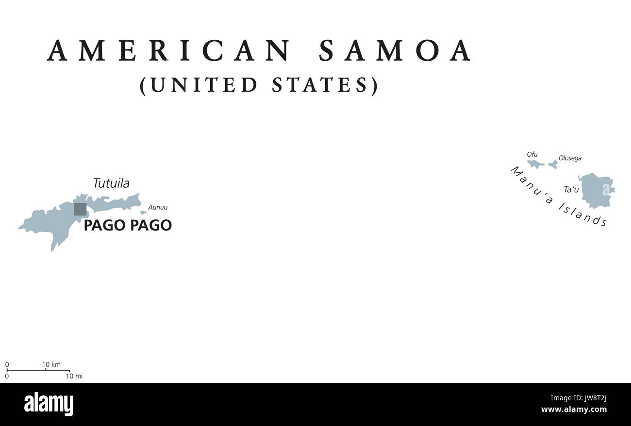 American Samoa political map with capital Pago Pago. English labeling. Unincorporated territory of the United States Stock Photo