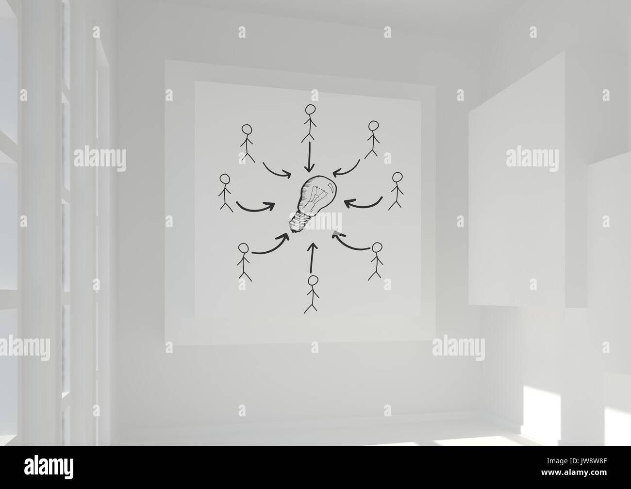 Digital composite of Conceptual graphic on 3D room wall - Stock Image