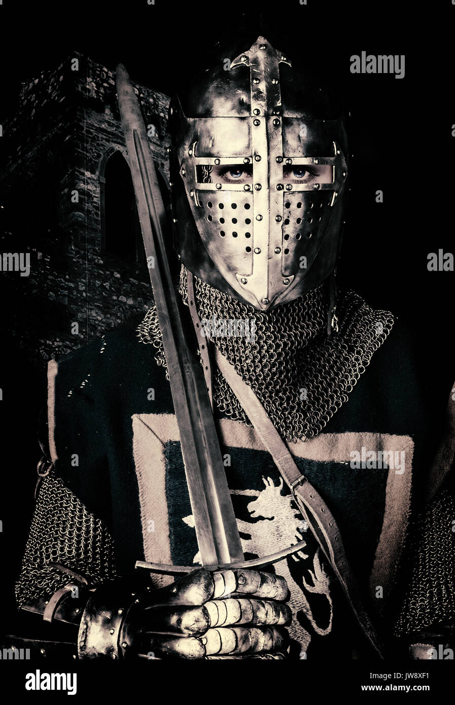 Book cover  - on in battle - Woman in armor with sword - Stock Image